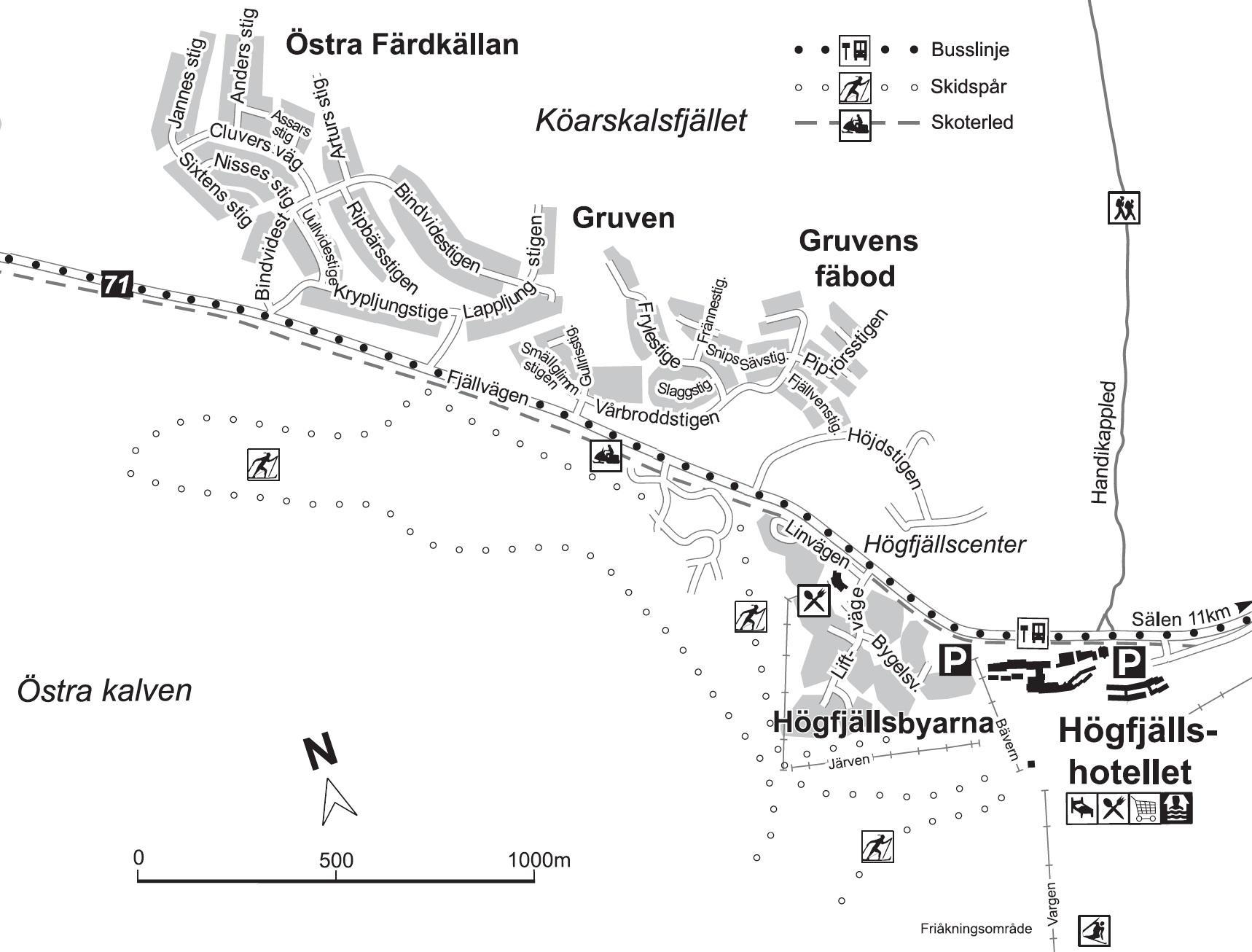Karta över Högfjällshotellet